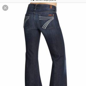 7 for all man kind, size 26 wide leg dojo jeans
